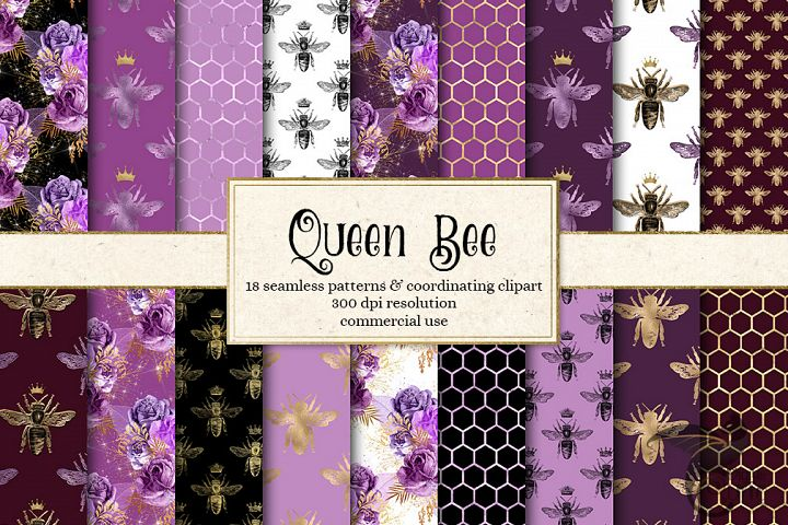 Queen Bee Seamless Digital Paper