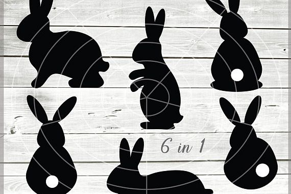 Easter Bunny Silhouete SVG - Easter cuttable files - Easter Bunny SVG - Bunny Svg - Cutting File - Svg - Dxf - Eps - Png - Jpg - Pdf