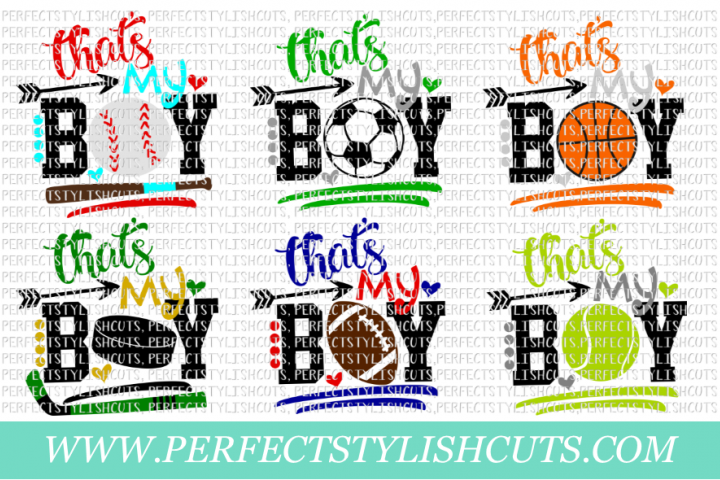 Thats My Boy Sports Bundle - SVG, EPS, DXF, PNG Files For Cutting Machines, Sports Svg