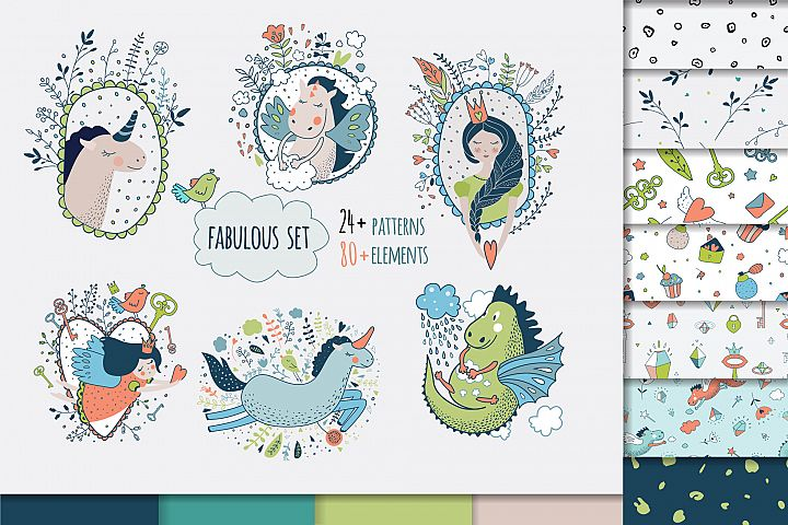 Vector set. Cute princess collection