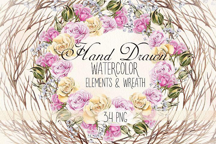 Watercolor Elements & Wreath