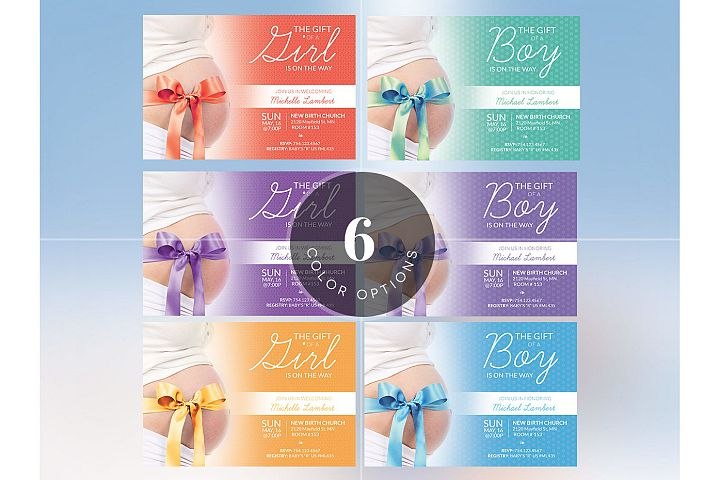 Baby Shower Invitation Photoshop Template example 6