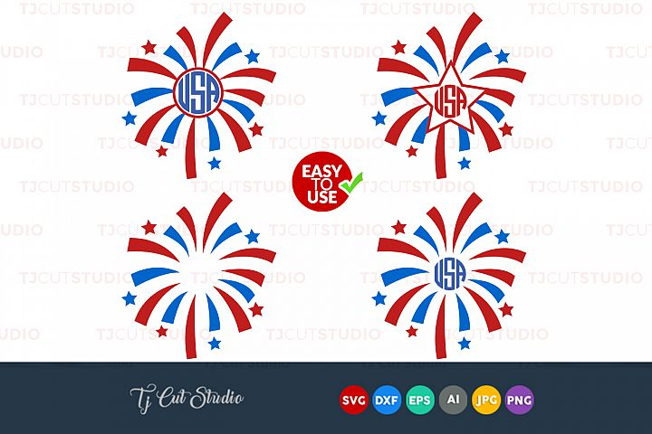 Fireworks Svg, 4th of July svg, Summer svg, Files for Silhouette Cameo or Cricut, Commercial & Personal Use.