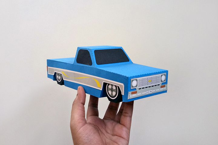 DIY Papercraft Pickup truck,Lowrider truck,Chevy truck,vintage car,Origami,Paper truck,3d papercraft,Printables,Lowpoly car,Paper car