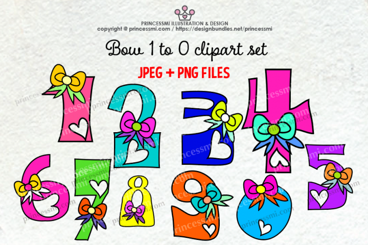 bow and love hearts Number set , 1 to zero number clipart set