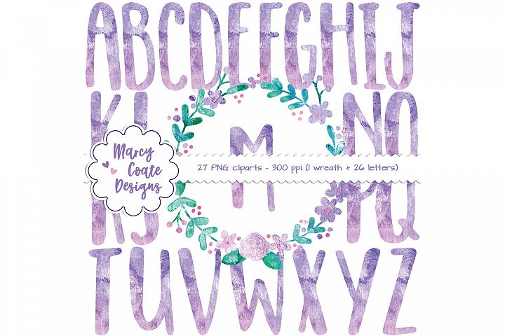 Watercolor Wreath & Watercolor Alphabet Clipart (purple & pink)