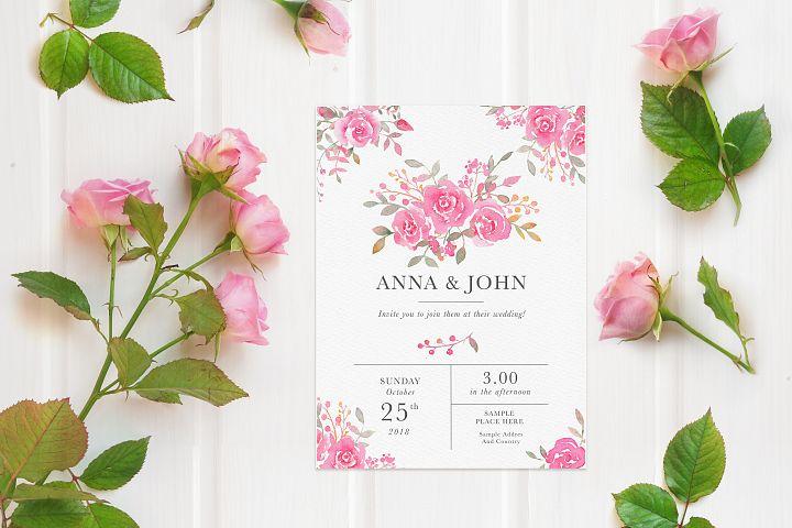 Feminine mockup flatlay with pink roses