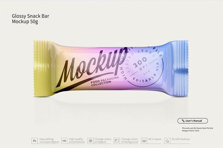Glossy Snack Bar Mockup 50g