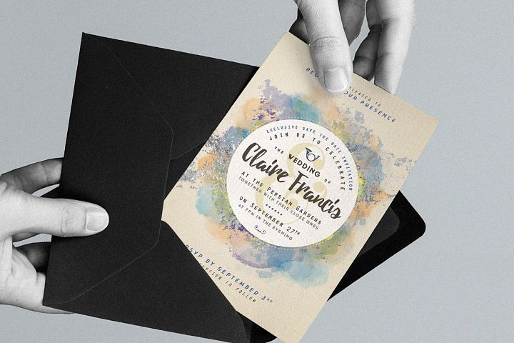 Pure Silver Watercolor Wedding Card example 3