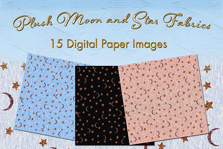 Plush Moon and Star Fabrics - 15 Digital Paper Images