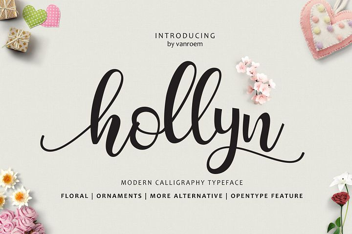 Hollyn Script with Ornaments Font