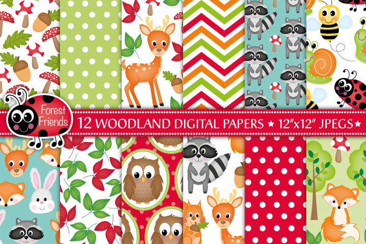 Woodland animals digital papers, Woodland patterns, Raccoon digital papers, Fox digital papers, Owl papers