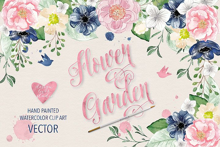 Vector Watercolor Navy blue and Pink Flower Garden clipart