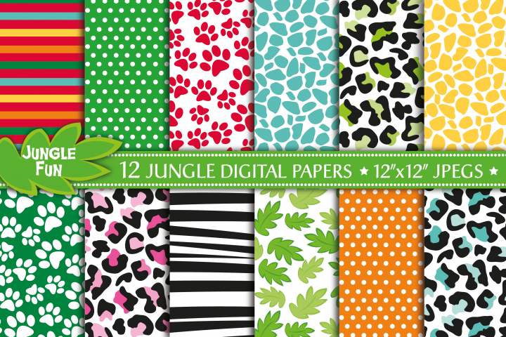 Jungle digital papers, Jungle pattern digital papers, Jungle digital scrapbook papers