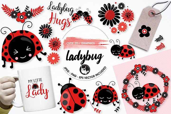 Little ladybug graphics and illustrations