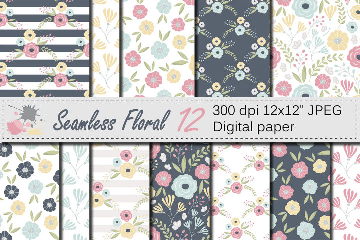 Seamless Floral Pattern / Mother`s Day Digital paper / Pink, Yellow Flower Background