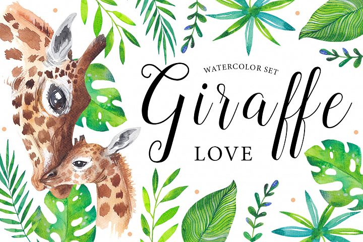 Giraffe love - watercolor set