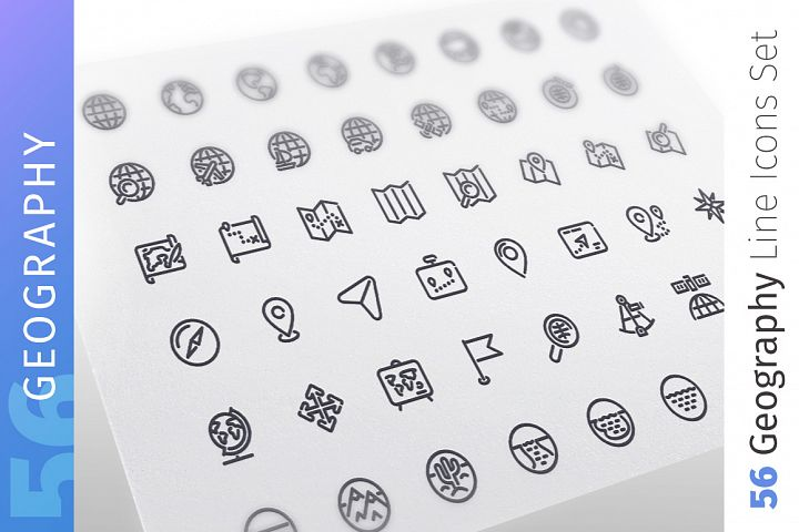 Geography Line Icons Set