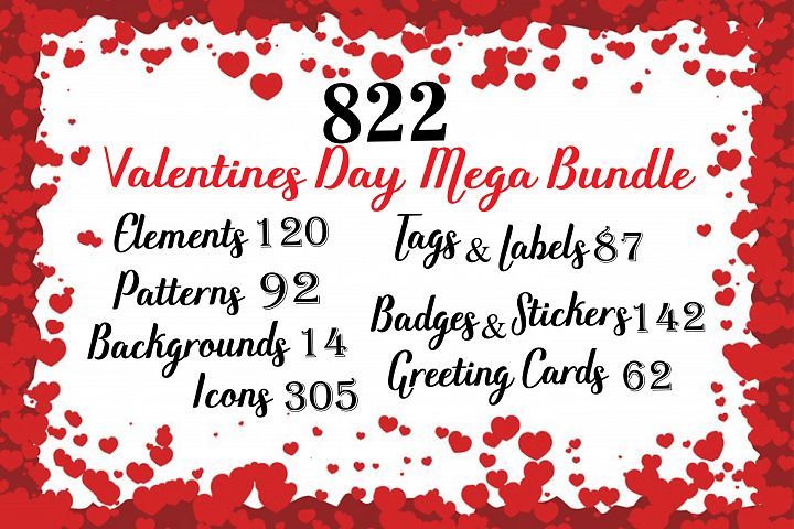 Valentines day mega bundle ,valentine Greeting cards,valentine elements,valentines patterns,valentine backgrounds,valentine bundles