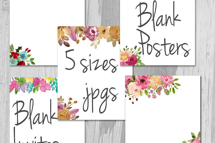 Watercolor Blank Flyers Blank Invitations