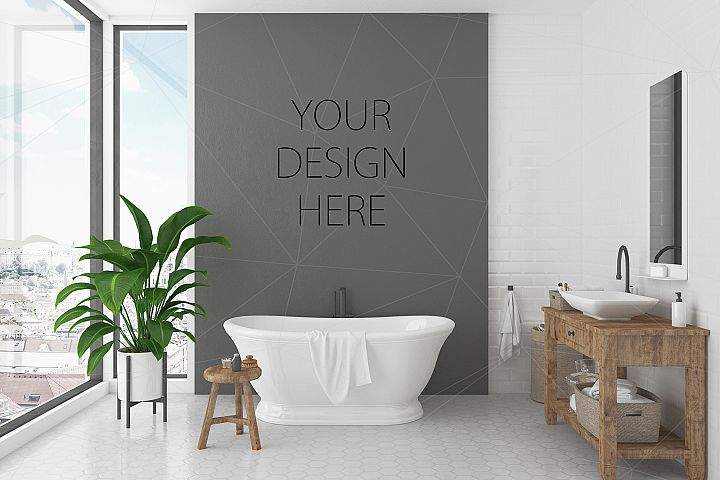 Interior mockup bundle - bathroom background