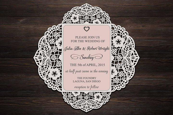 four fold wedding invitation, cricut wedding invitation template, svg file, laser cut, quinceanera, wedding cricut invitation, svg lace, dxf