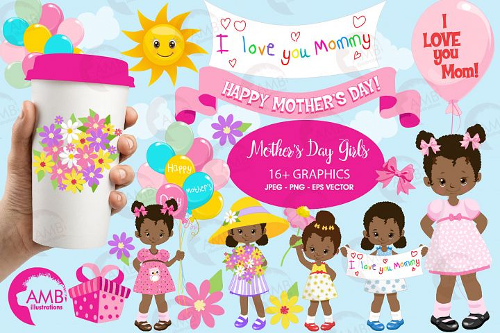 Mothers Day kids, African American girls, graphics, clipart, illustrations AMB-1802