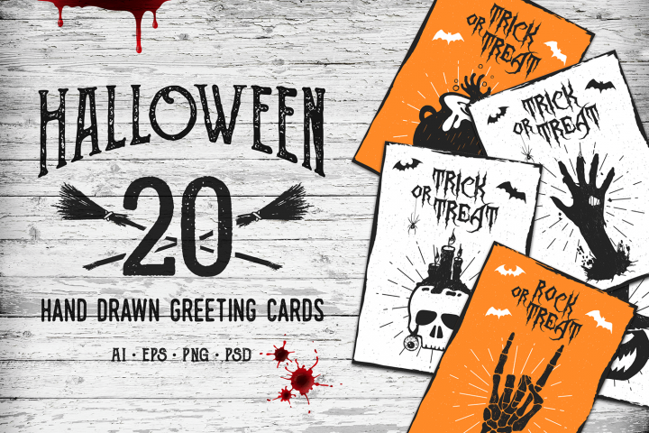 Halloween. 20 Greeting Cards - Free Design of The Week
