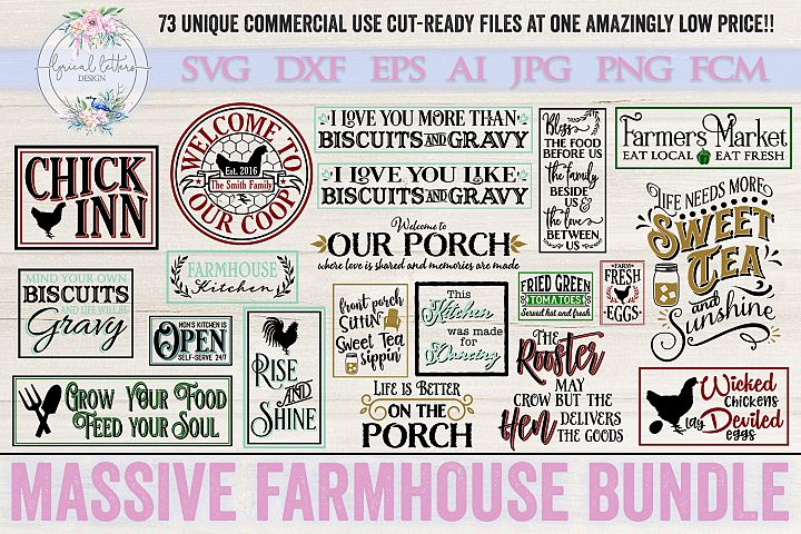 Farmhouse Bundle of 73 SVG DXF FCM AI EPS JPG and PNG Files