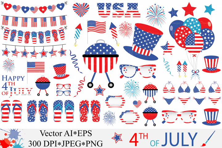 4th of July Clipart / USA Patriotic Vector Graphics / Independence Day Illustrations