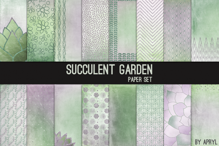 Succulent Garden Digital Paper Backgrounds