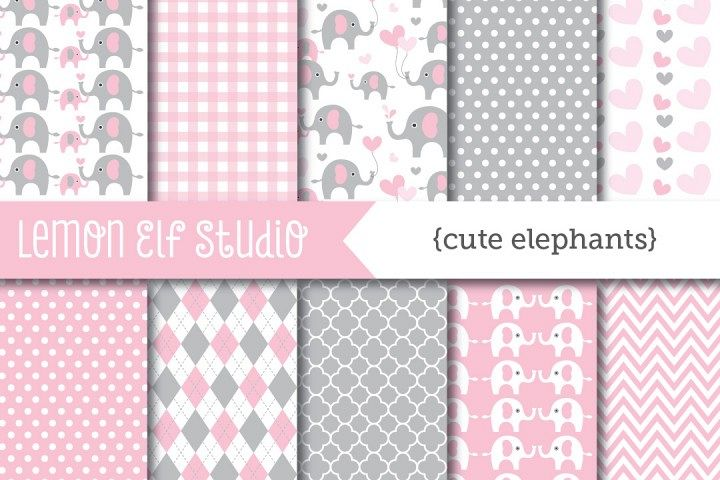 Cute Elephants-Digital Paper (LES.DP10B)