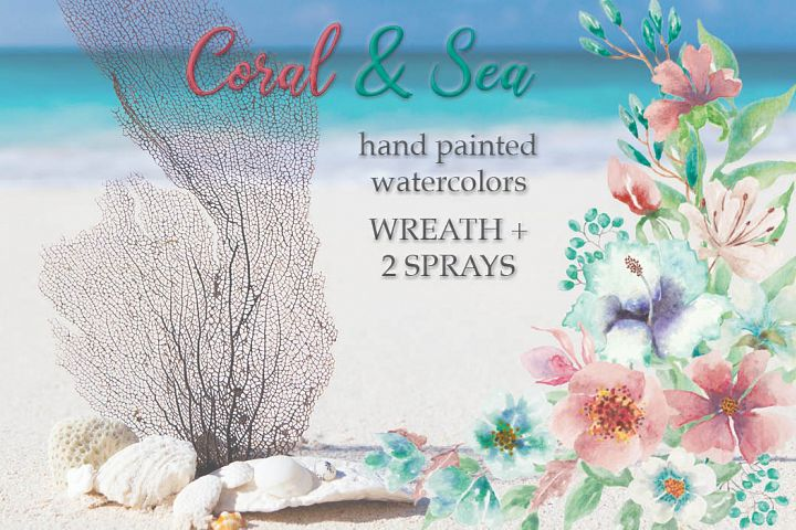 Coral and Sea: watercolor wreath plus sprays