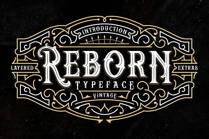 Reborn Layered Typeface + Extras