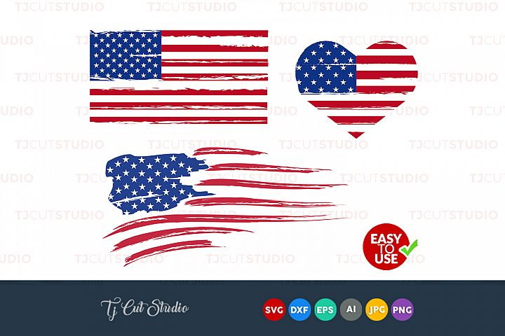 Distressed flag, American flag , USA flag svg, Flag svg, Files for Silhouette Cameo or Cricut, Commercial & Personal Use.
