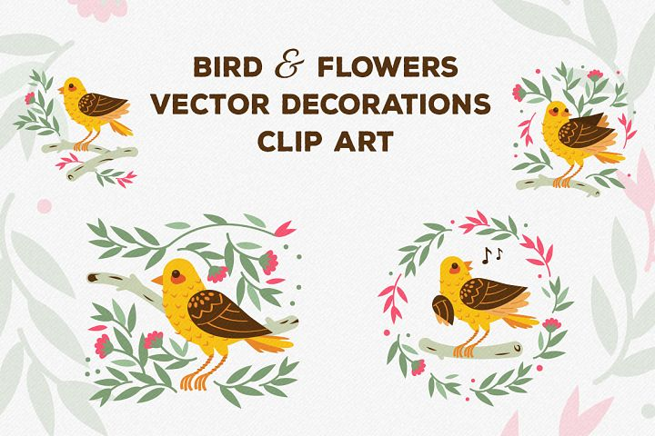 Birds and Flowers Vector Decorations