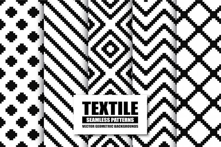 Textile seamless patterns. B&W textures.