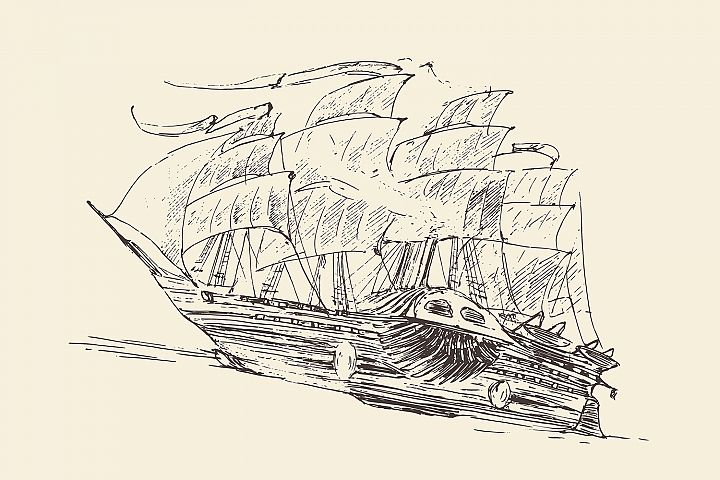 Set of engraved style ships