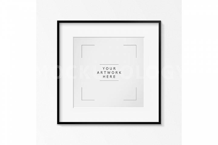 SQUARE Digital Black Frame Mockup, White Wallpaper Background, Styled Photography Poster Mockup, Framed Artwork Mockup, INSTANT DOWNLOAD