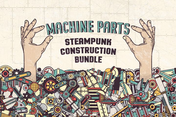 Steampunk machine parts bundle