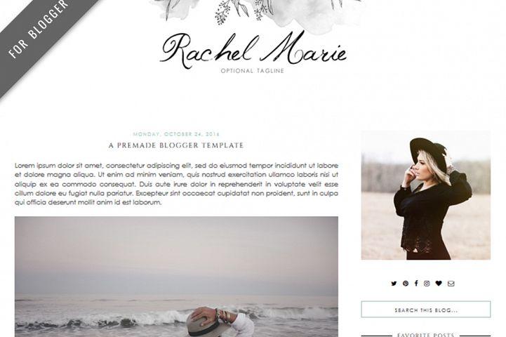 Premade Blogger Template - Mobile Responsive - Watercolor Design Blog - Rachel Marie Theme