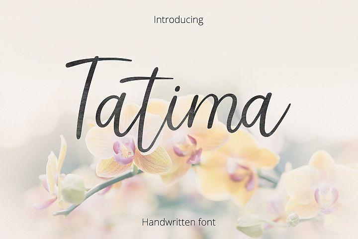 Tatima. Handwritten font.