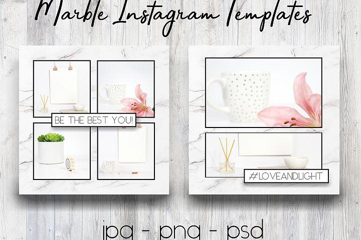 Marble & Black Instagram Templates | Social Media Templates