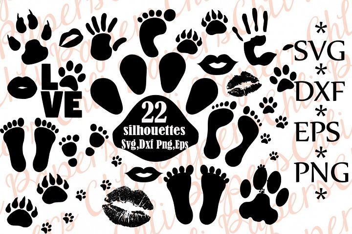 Paw Prints Silhouettes Svg,FOOT PRINT SVG, Palm Prints Svg,Animal Tracks