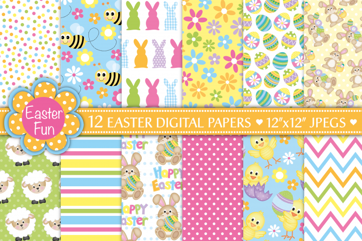 Easter digital papers, Bunny digital papers, Easter patterns, Easter chick, Easter digital scrapbook papers