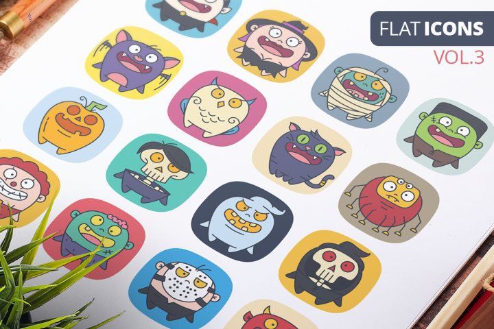 Cute Flat Halloween Characters Vol.3
