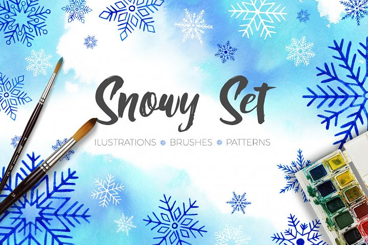 Snowlakes Winter Watercolor Set