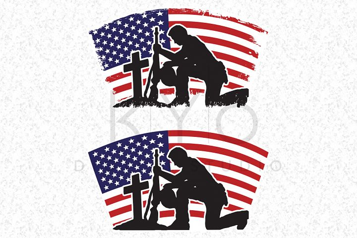 Fallen Soldier SVG Veterans Day SVG DXF PNG EPS files American flag vector US flag vector image Military flag Distressed flag