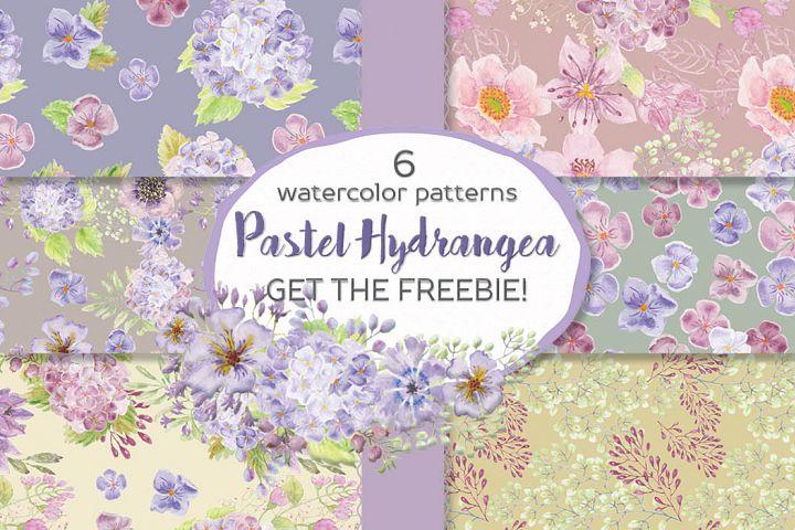 Set of 6 watercolor patterns: pastel Hydrangeas + FREEBIE