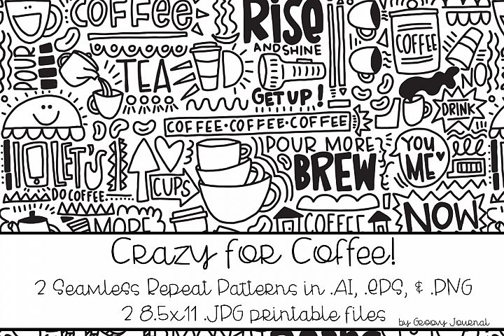 Crazy for Coffee Seamless Repeat Pattern